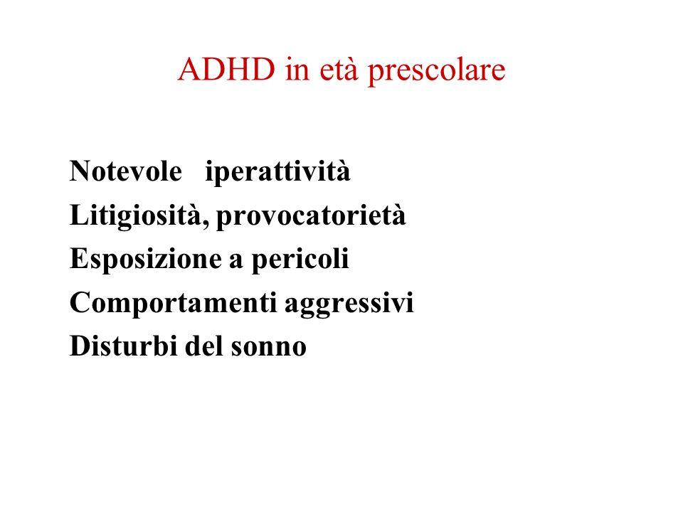 ADHD in età prescolare Notevole iperattività