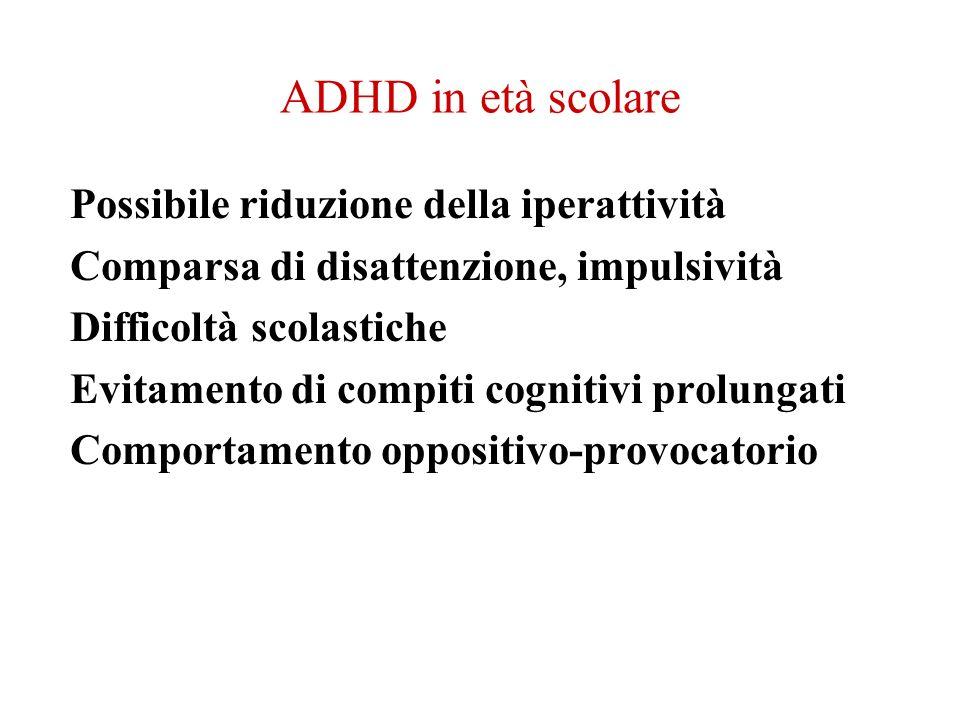 ADHD in età scolare Possibile riduzione della iperattività