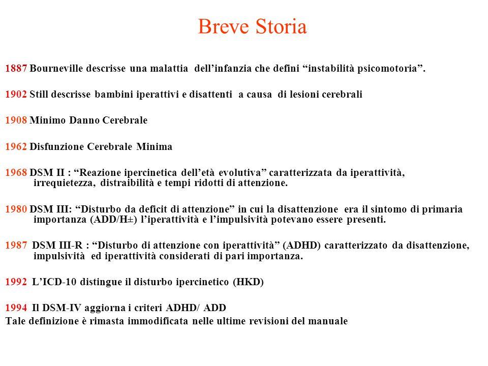 Breve Storia 1887 Bourneville descrisse una malattia dell'infanzia che defini instabilità psicomotoria .