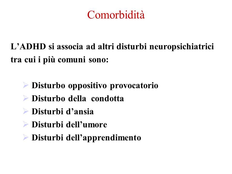 Comorbidità L'ADHD si associa ad altri disturbi neuropsichiatrici