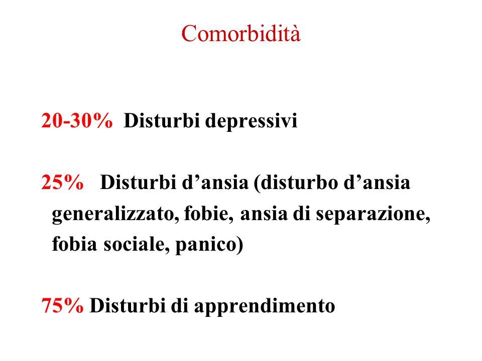 Comorbidità 20-30% Disturbi depressivi