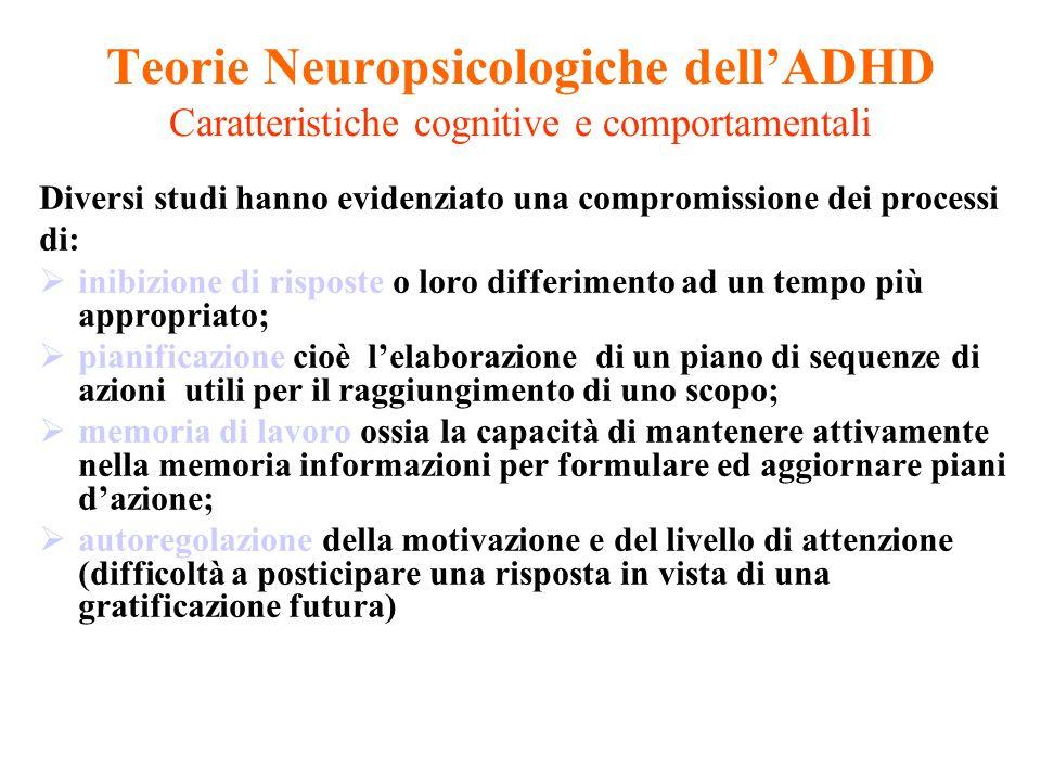 Teorie Neuropsicologiche dell'ADHD Caratteristiche cognitive e comportamentali