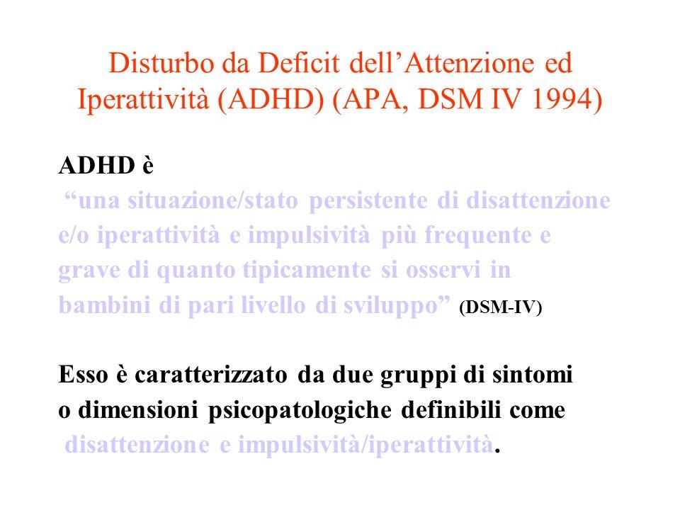 Disturbo da Deficit dell'Attenzione ed Iperattività (ADHD) (APA, DSM IV 1994)
