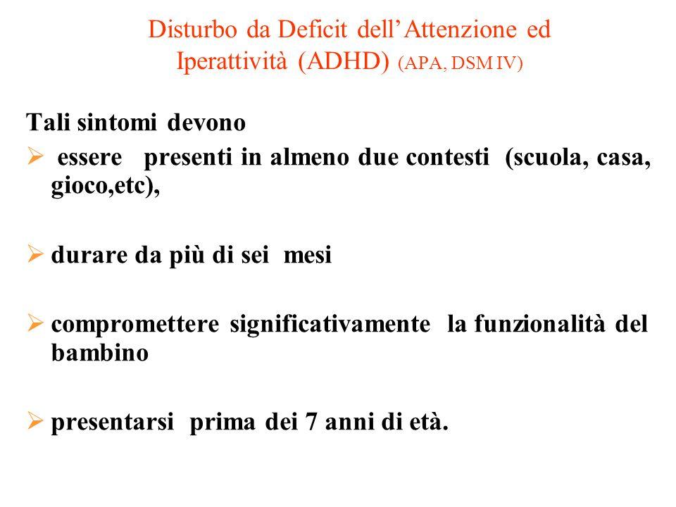 Disturbo da Deficit dell'Attenzione ed Iperattività (ADHD) (APA, DSM IV)
