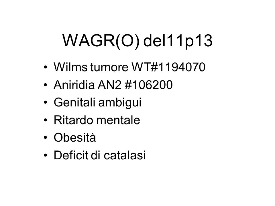 WAGR(O) del11p13 Wilms tumore WT#1194070 Aniridia AN2 #106200