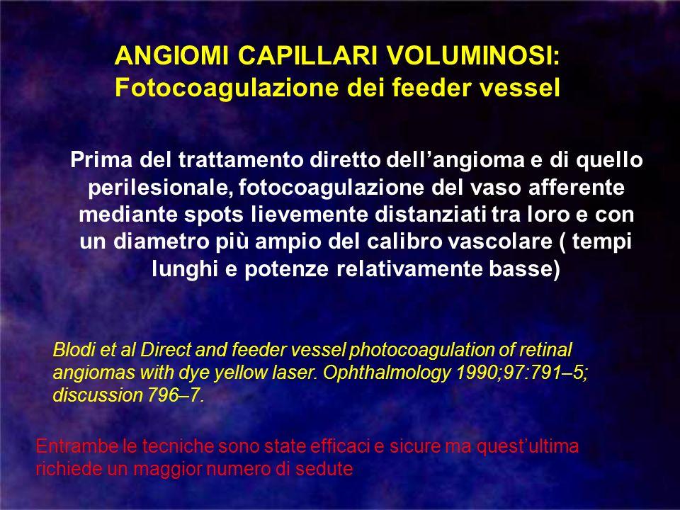 ANGIOMI CAPILLARI VOLUMINOSI: Fotocoagulazione dei feeder vessel