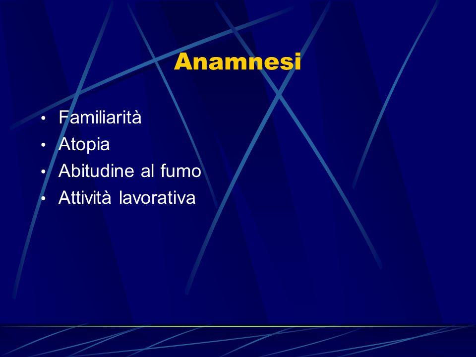Anamnesi Familiarità Atopia Abitudine al fumo Attività lavorativa