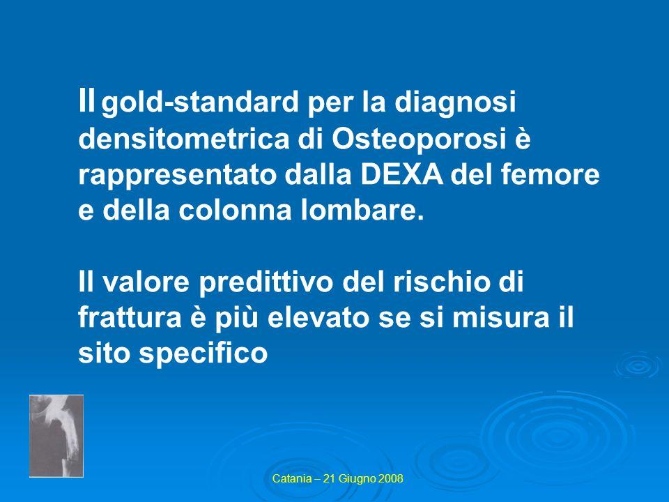Il gold-standard per la diagnosi densitometrica di Osteoporosi è rappresentato dalla DEXA del femore e della colonna lombare.