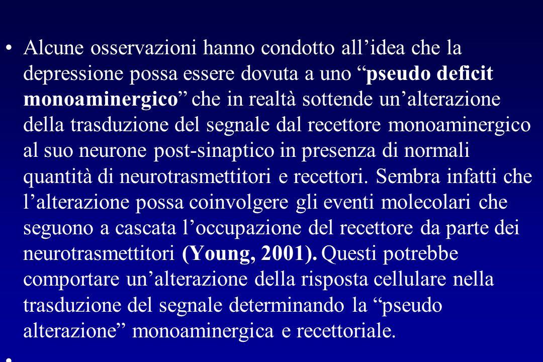 Alcune osservazioni hanno condotto all'idea che la depressione possa essere dovuta a uno pseudo deficit monoaminergico che in realtà sottende un'alterazione della trasduzione del segnale dal recettore monoaminergico al suo neurone post-sinaptico in presenza di normali quantità di neurotrasmettitori e recettori. Sembra infatti che l'alterazione possa coinvolgere gli eventi molecolari che seguono a cascata l'occupazione del recettore da parte dei neurotrasmettitori (Young, 2001). Questi potrebbe comportare un'alterazione della risposta cellulare nella trasduzione del segnale determinando la pseudo alterazione monoaminergica e recettoriale.