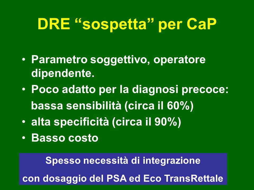 DRE sospetta per CaP Parametro soggettivo, operatore dipendente.
