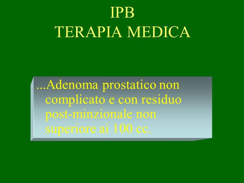 IPB TERAPIA MEDICA ...Adenoma prostatico non complicato e con residuo post-minzionale non superiore ai 100 cc.