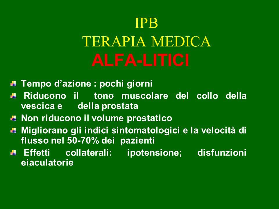 IPB TERAPIA MEDICA ALFA-LITICI Tempo d'azione : pochi giorni