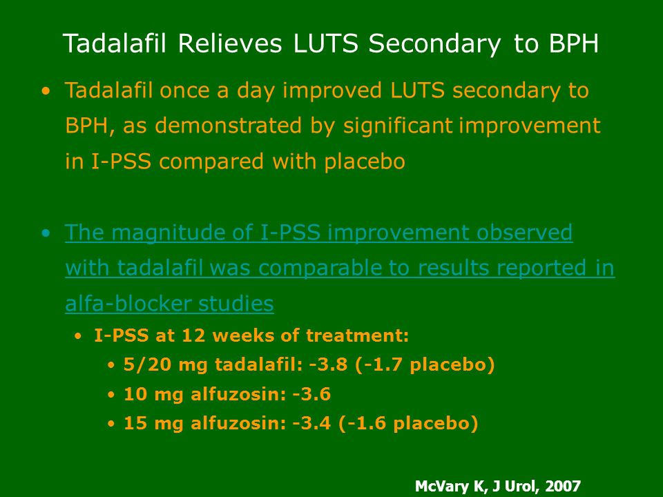 Tadalafil Relieves LUTS Secondary to BPH