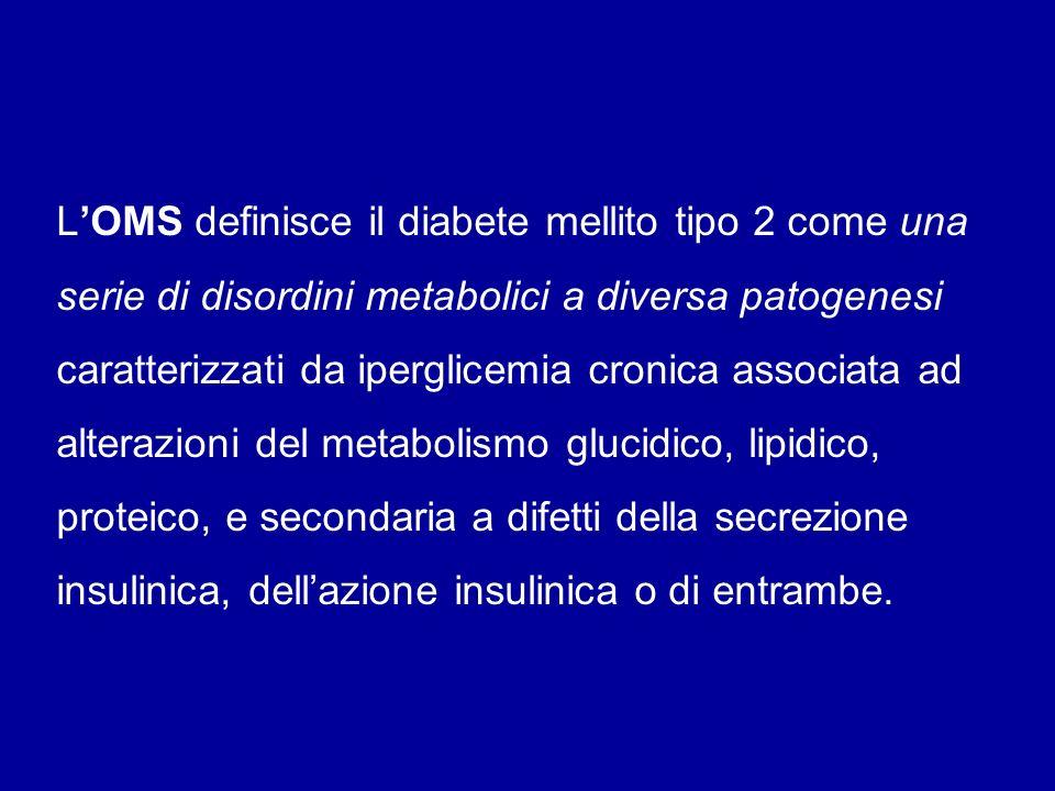 L'OMS definisce il diabete mellito tipo 2 come una