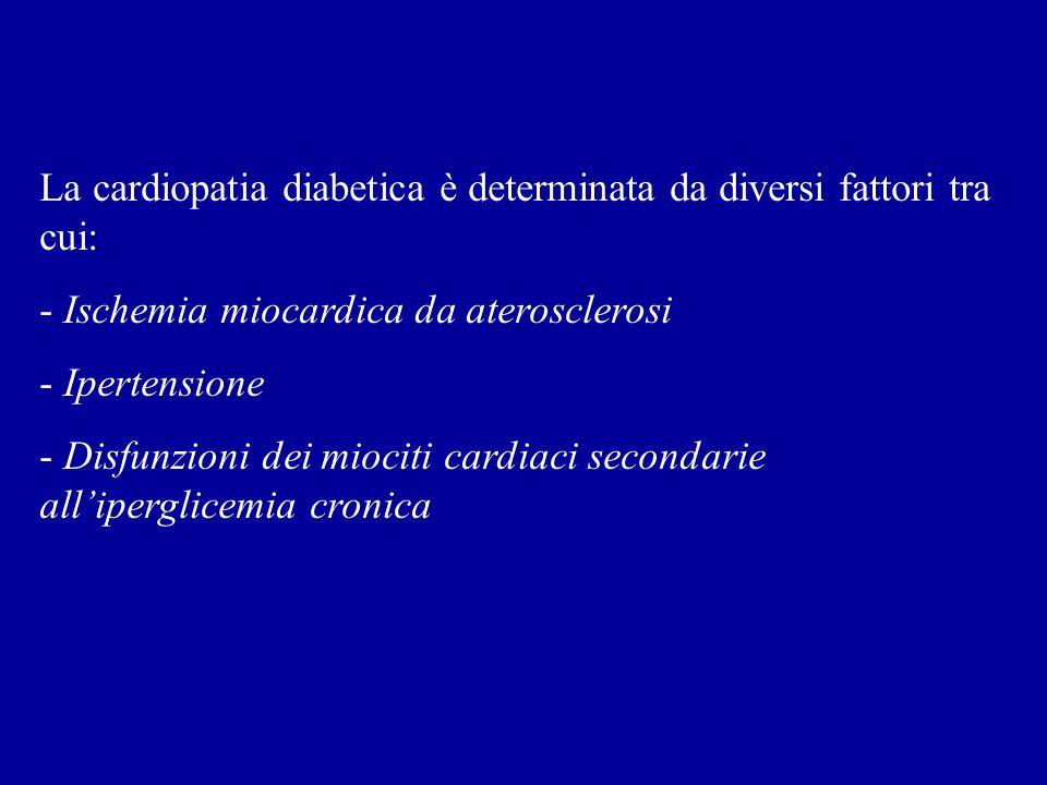 La cardiopatia diabetica è determinata da diversi fattori tra cui: