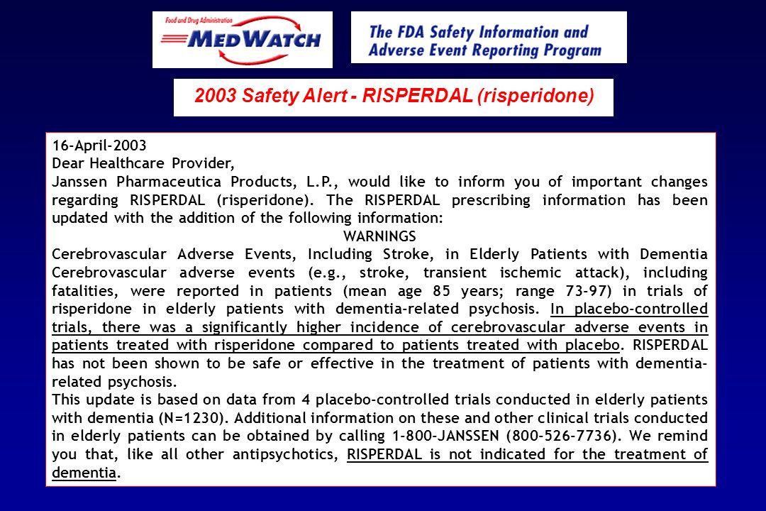 2003 Safety Alert - RISPERDAL (risperidone)