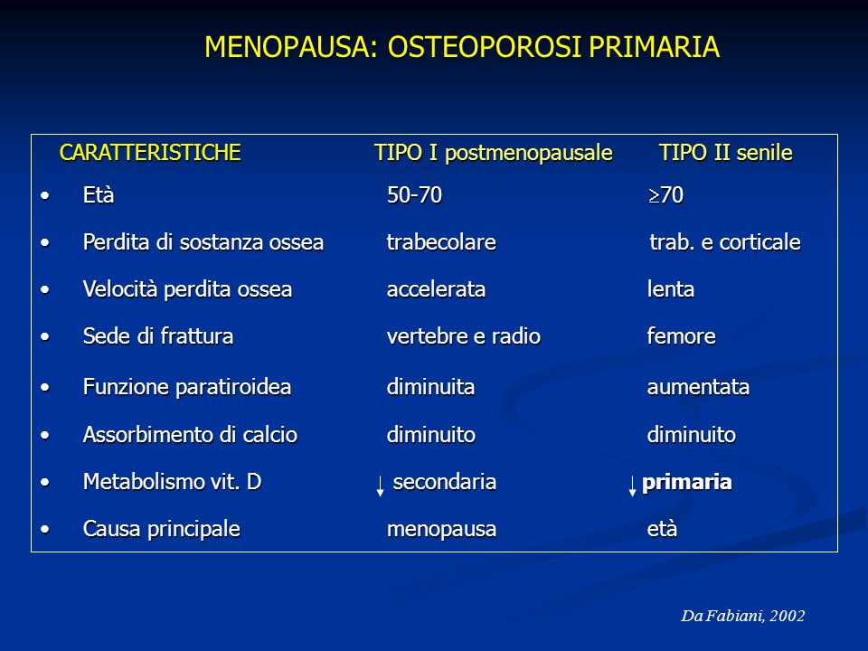 MENOPAUSA: OSTEOPOROSI PRIMARIA