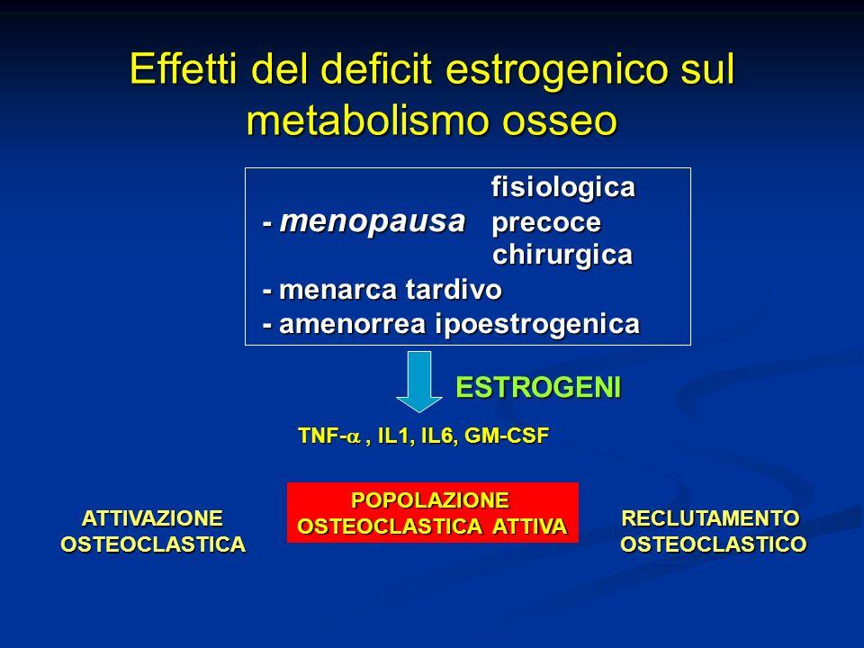 Effetti del deficit estrogenico sul metabolismo osseo