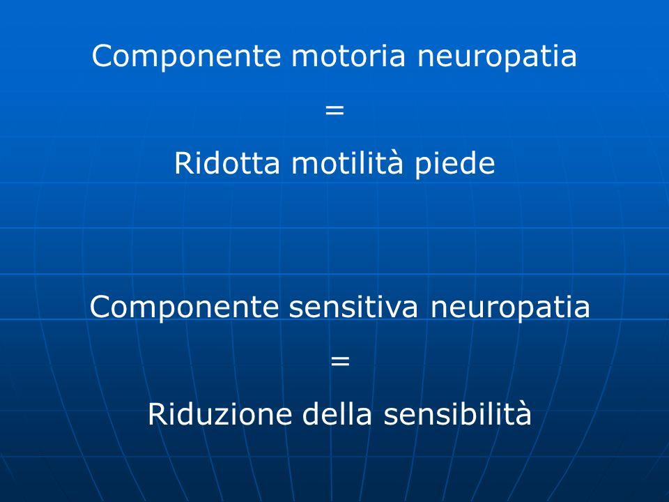 Componente motoria neuropatia = Ridotta motilità piede