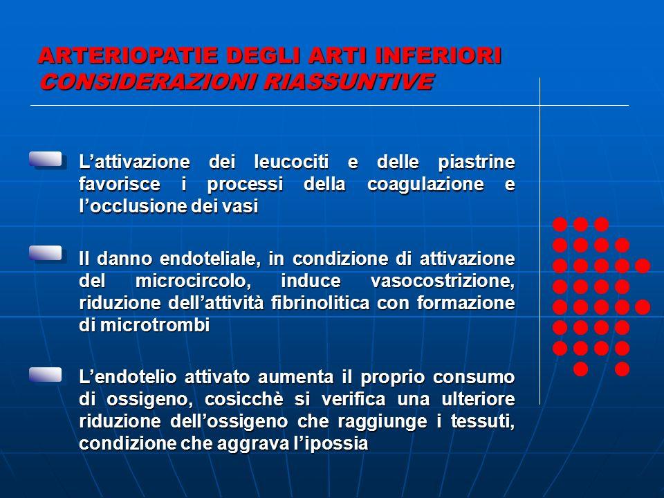 ARTERIOPATIE DEGLI ARTI INFERIORI CONSIDERAZIONI RIASSUNTIVE