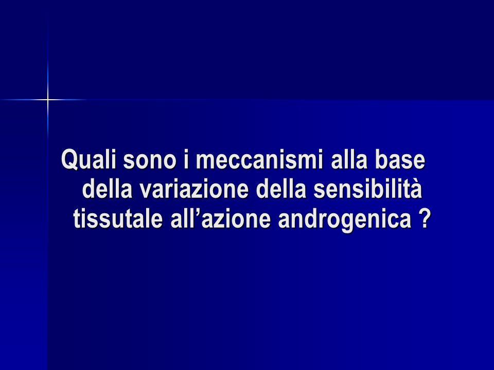 Quali sono i meccanismi alla base della variazione della sensibilità tissutale all'azione androgenica
