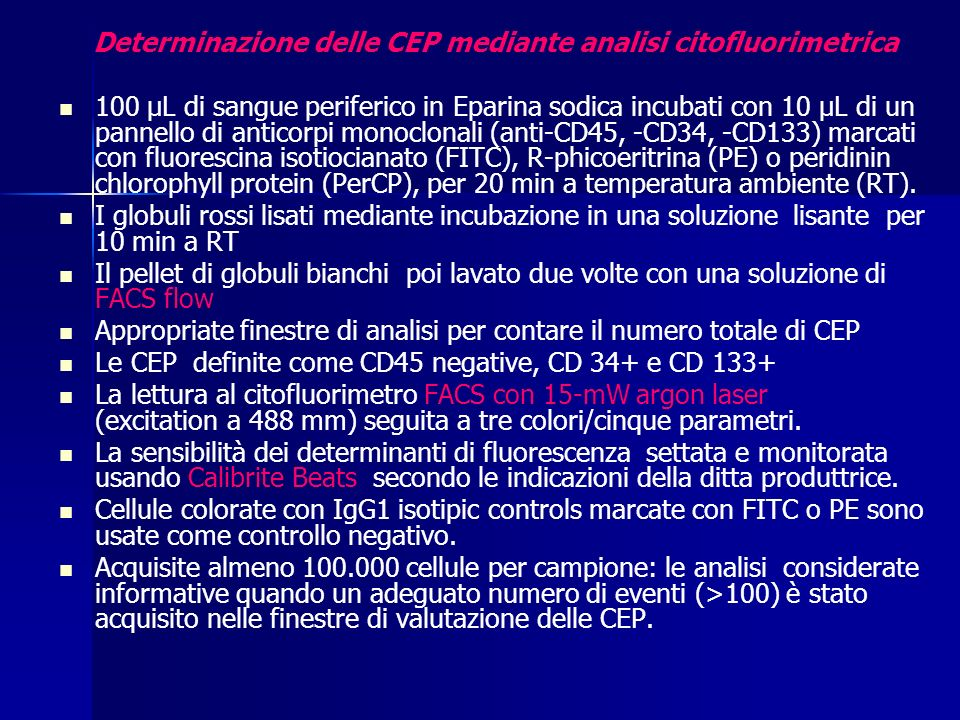 Determinazione delle CEP mediante analisi citofluorimetrica