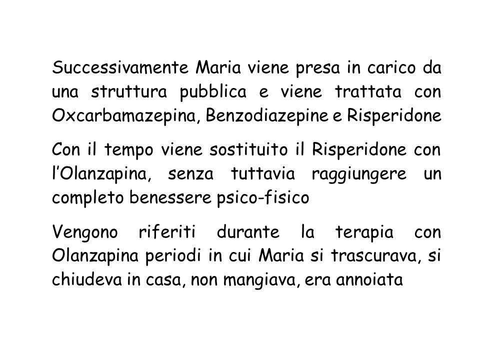 Successivamente Maria viene presa in carico da una struttura pubblica e viene trattata con Oxcarbamazepina, Benzodiazepine e Risperidone