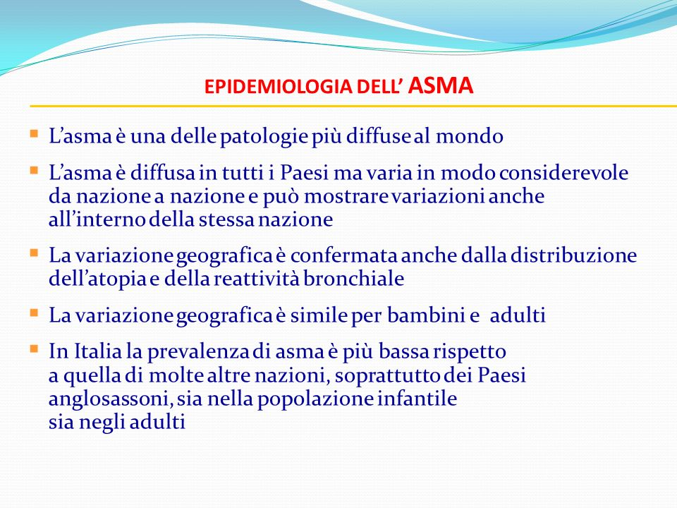 Epidemiologia dell' ASMA