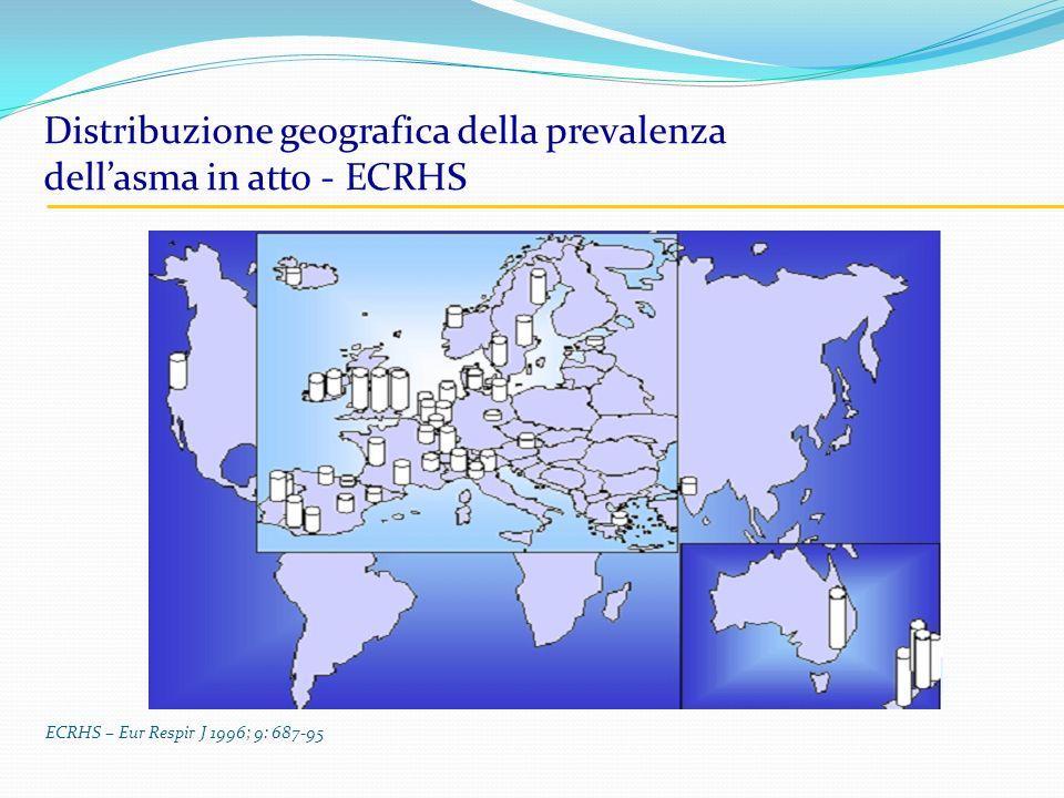 Distribuzione geografica della prevalenza dell'asma in atto - ECRHS