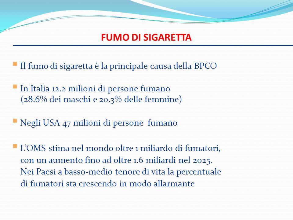 Fumo di sigaretta Il fumo di sigaretta è la principale causa della BPCO.