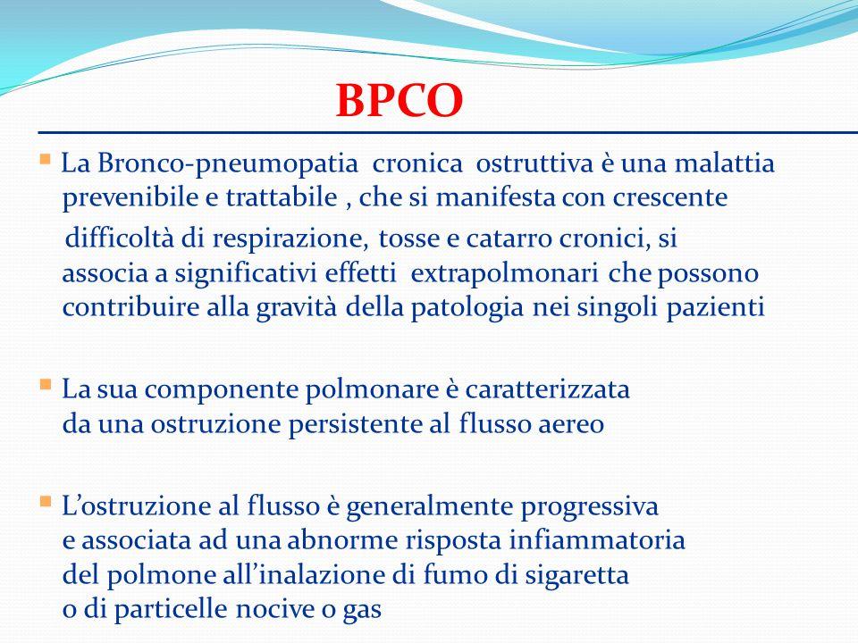 BPCO La Bronco-pneumopatia cronica ostruttiva è una malattia prevenibile e trattabile , che si manifesta con crescente.