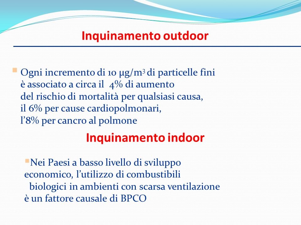 Inquinamento outdoor Inquinamento indoor