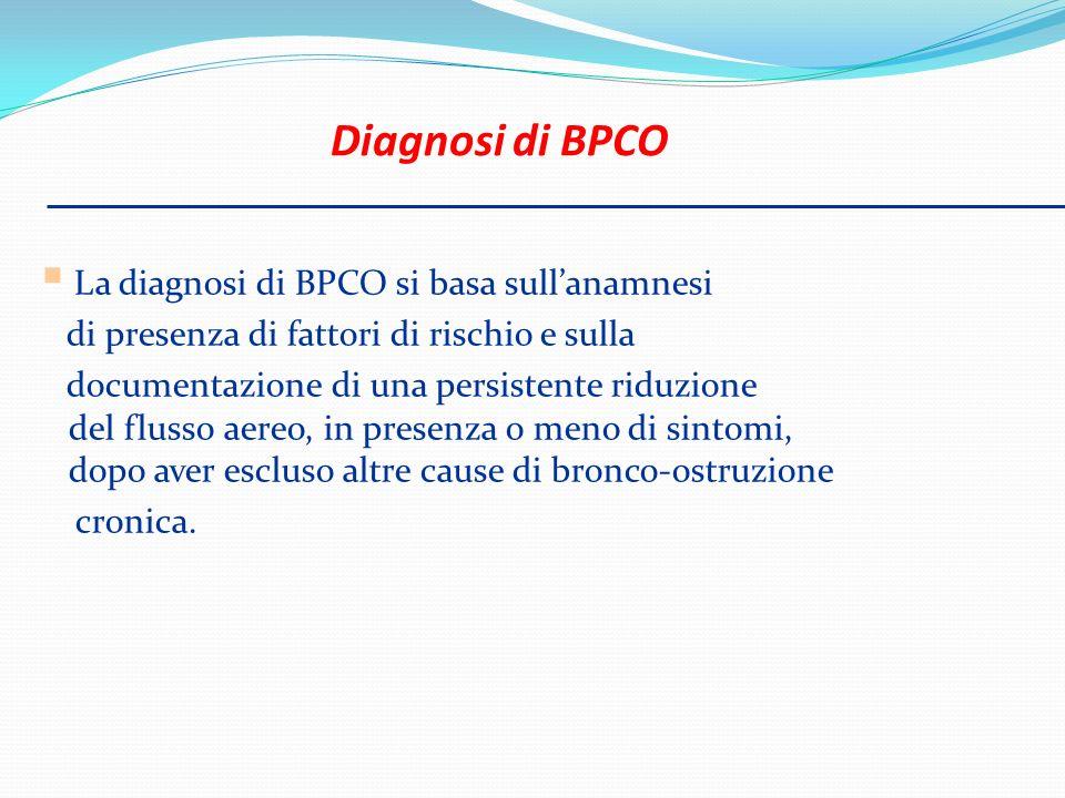 Diagnosi di BPCO La diagnosi di BPCO si basa sull'anamnesi