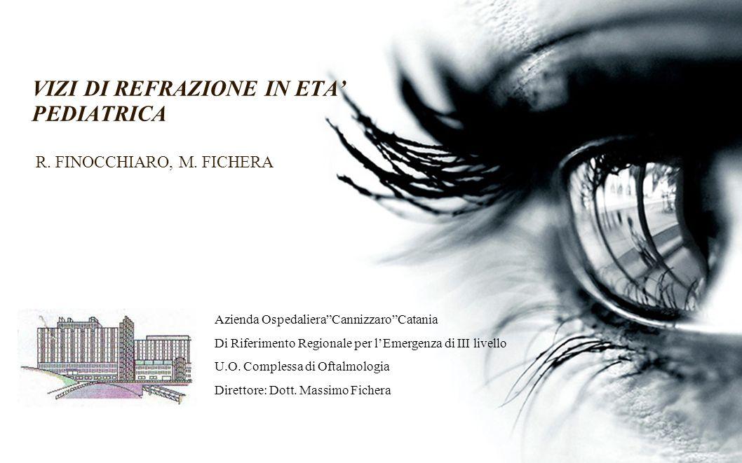VIZI DI REFRAZIONE IN ETA' PEDIATRICA R. FINOCCHIARO, M. FICHERA