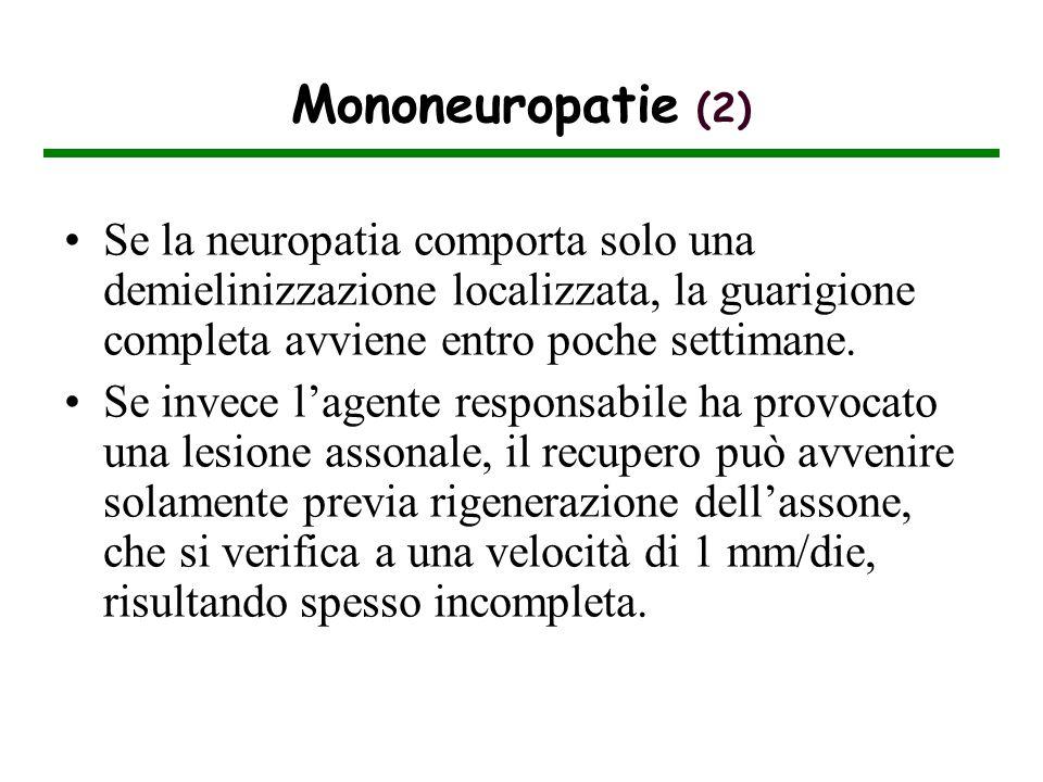 Mononeuropatie (2) Se la neuropatia comporta solo una demielinizzazione localizzata, la guarigione completa avviene entro poche settimane.