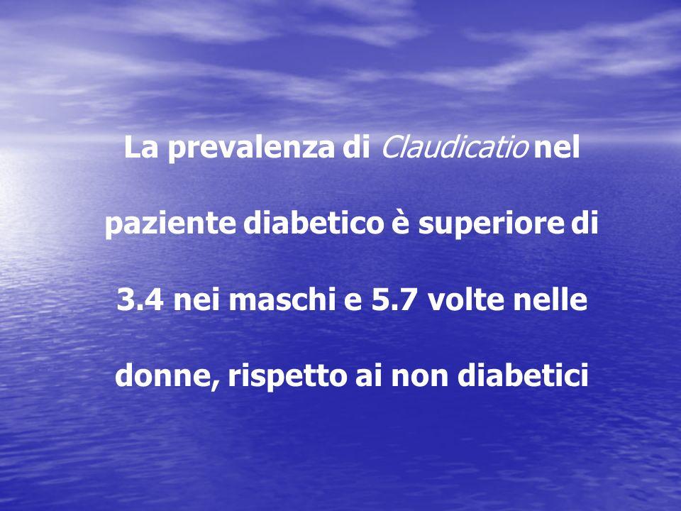 La prevalenza di Claudicatio nel paziente diabetico è superiore di 3