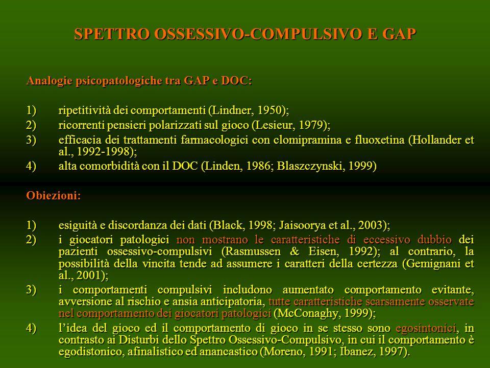SPETTRO OSSESSIVO-COMPULSIVO E GAP