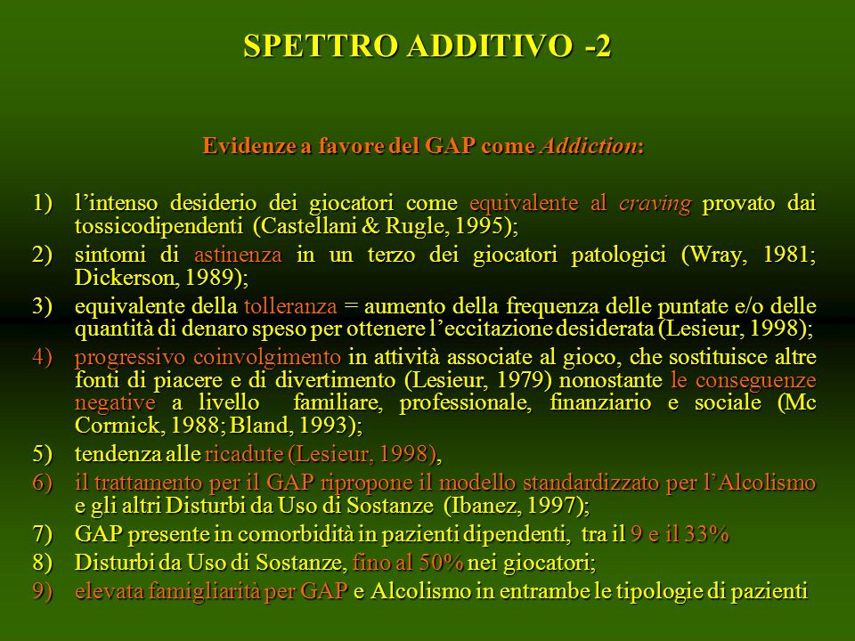 Evidenze a favore del GAP come Addiction: