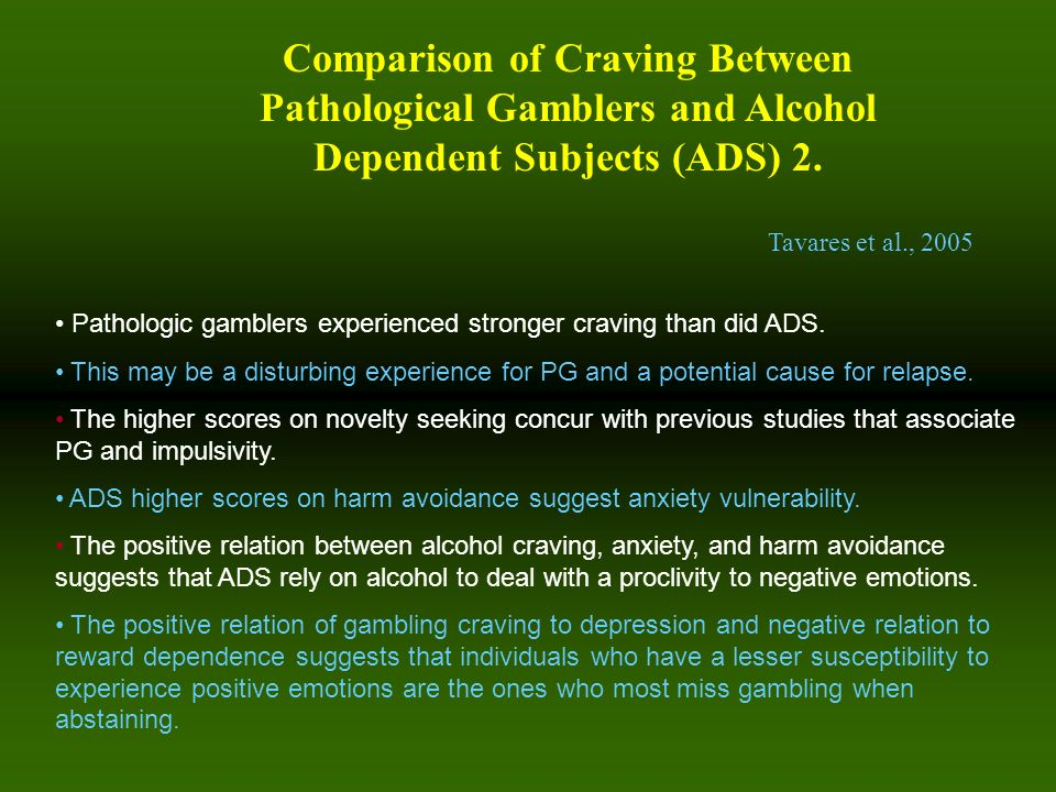 Comparison of Craving Between Pathological Gamblers and Alcohol Dependent Subjects (ADS) 2.