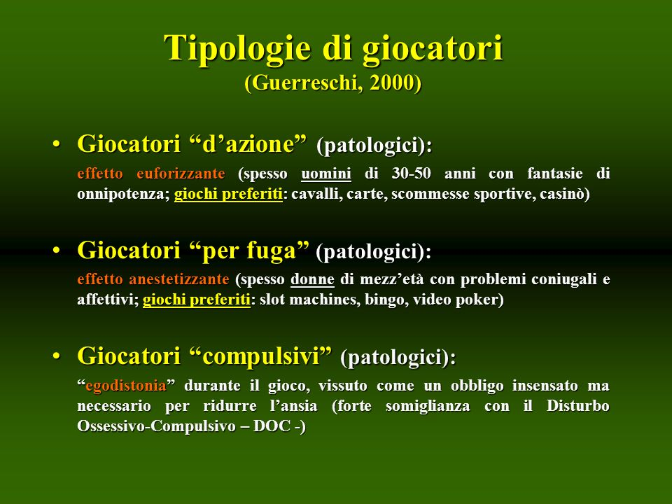 Tipologie di giocatori (Guerreschi, 2000)