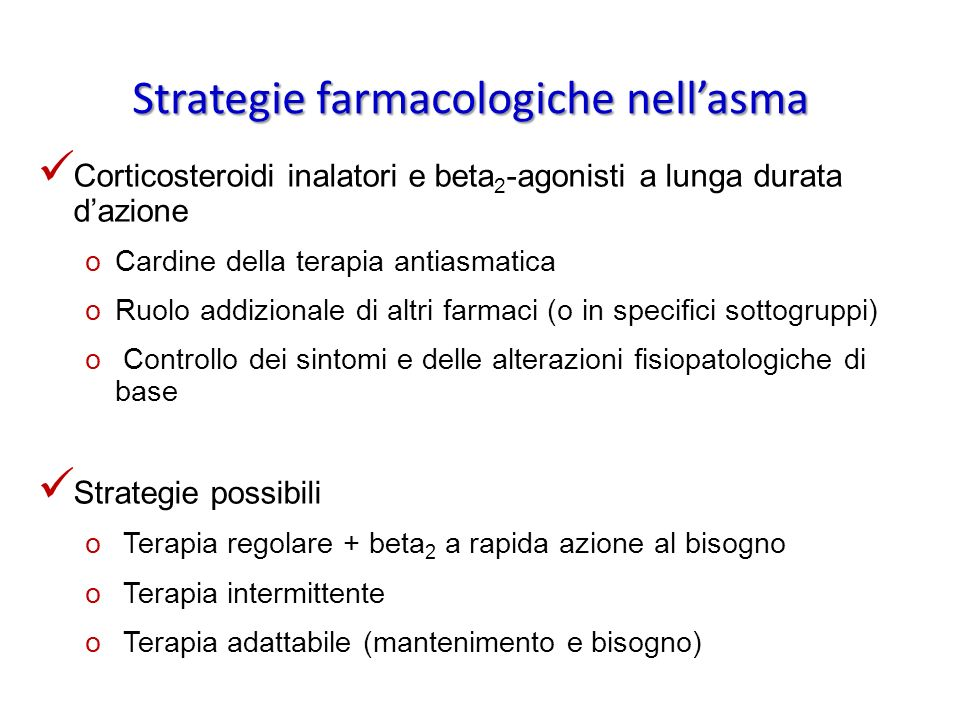 Strategie farmacologiche nell'asma