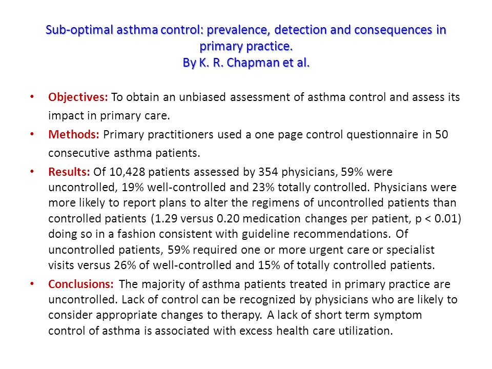 Sub-optimal asthma control: prevalence, detection and consequences in primary practice. By K. R. Chapman et al.