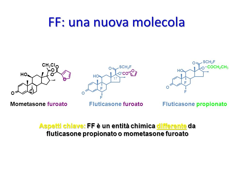 FF: una nuova molecola O. SCH2F. CH2CI. O. O. SCH2F. O. O. COCH2CH3. O. HO. HO. O. O. CO.