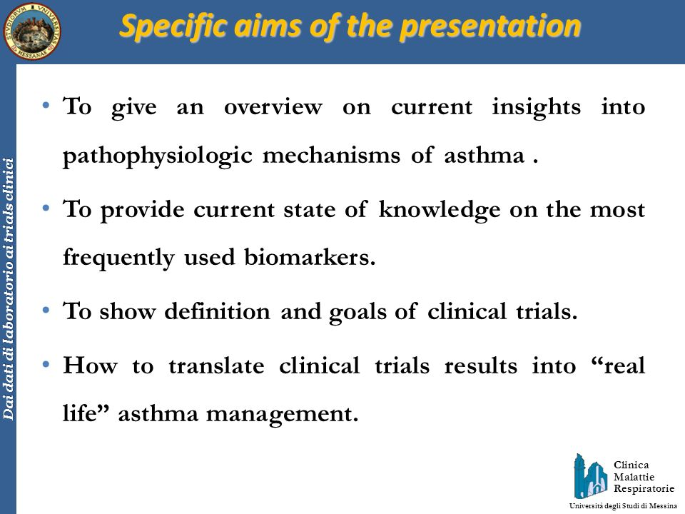Specific aims of the presentation