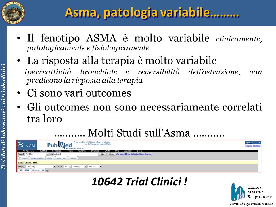 Asma, patologia variabile………