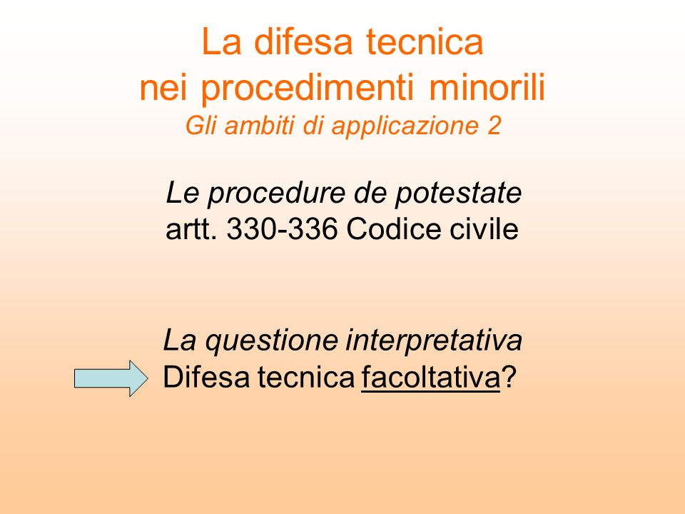 Le procedure de potestate artt Codice civile