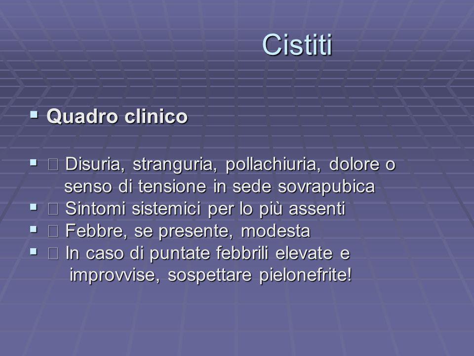 Cistiti Quadro clinico  Disuria, stranguria, pollachiuria, dolore o
