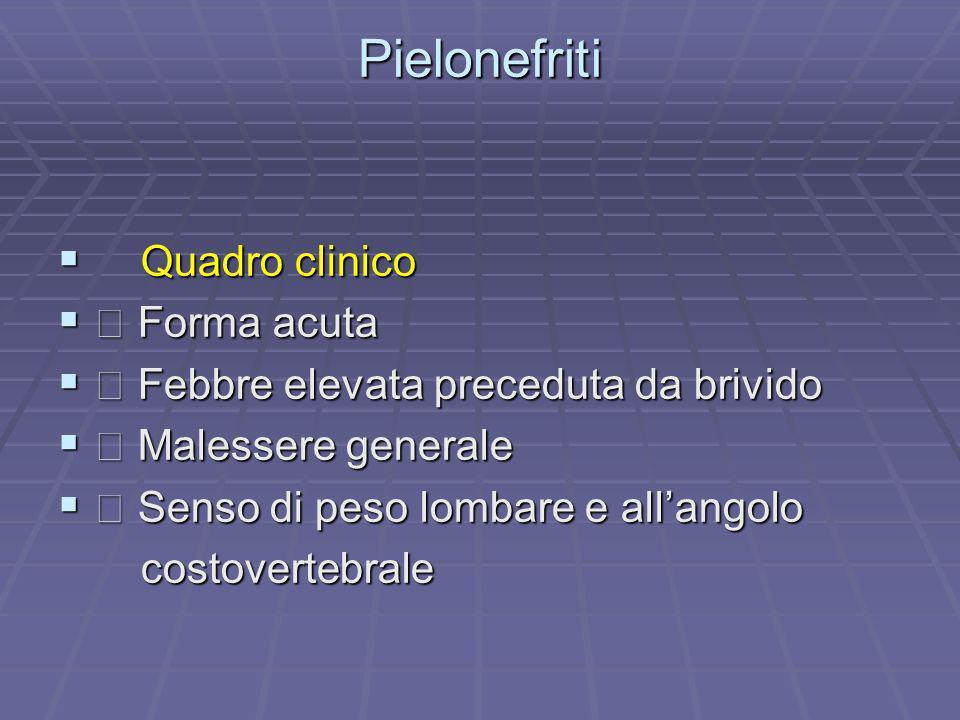 Pielonefriti Quadro clinico  Forma acuta