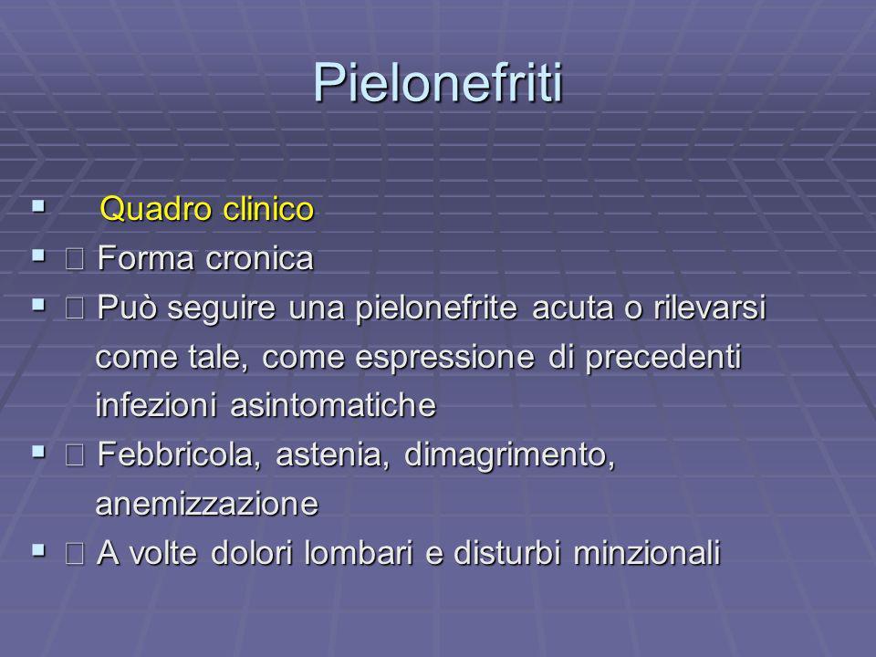 Pielonefriti Quadro clinico  Forma cronica