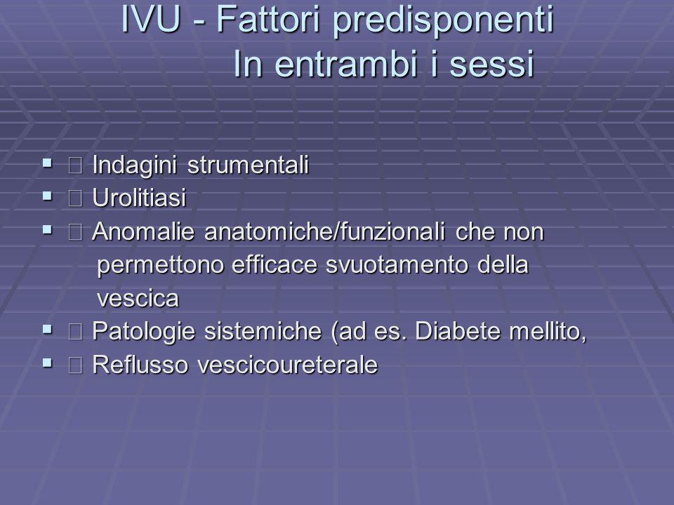 IVU - Fattori predisponenti In entrambi i sessi